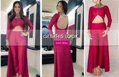 GET THIS LOOK: Sunny Leone looks a million dollar bucks in this wine coloured cape jacket with straight pants by Reeti Arneja. Catch the same on our website