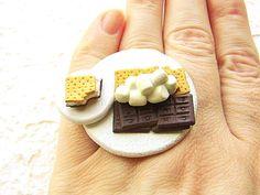 Smores Food Ring Chocolate Marshmallow Graham Crackers Kawaii Ring
