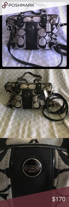 🌺Cute coach bag🌺 Used twice coach signature stripe black gray handbag medium can used it as crossbody, zipper, inside have 3 pocket 1 pocket have zipper the other 2 for cellphone Coach Bags Crossbody Bags