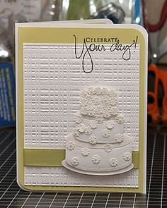"Stunning Wedding Card...with beautiful 3 tiered ""cake""...Arlene: WaterDots."