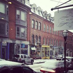 Snowy day in the Old Port! #blissboutiques #portlandmaine