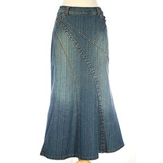 Stylish and feminine with amazing detail. Beautiful silhouette with slimmer panels than our first Natalie. Modest Denim Skirts, Denim Skirt Outfits, Denim Outfit, Skirt Pants, Jean Skirt, Modest Outfits, Modest Fashion, Skirt Fashion, Girl Outfits