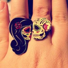 Candy Skull Rings, Dia De Los Muertos Inspired Skull Ring and Woman Skull with Black Hair and Red Lips. #accessories #jewelry