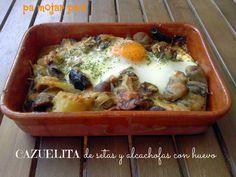 pa mojar pan!: Cazuelita de setas y  alcachofas con  huevo