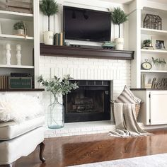3 Excellent Tips AND Tricks: Livingroom Remodel Furniture Placement small living room remodel guest bedrooms.Living Room Remodel Ideas Tips livingroom remodel tips.Small Living Room Remodel On A Budget. Fireplace Built Ins, Home Fireplace, Fireplace Remodel, Living Room With Fireplace, Fireplace Design, Fireplace Brick, Fireplace Ideas, Fireplace Bookshelves, Shelves Around Fireplace