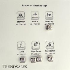 Pandora - retired chinese signs charms