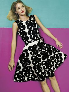 "Marimekko Talia White/Black Dress The Marimekko Talia White/Black Dress is fun, feminine and flirty in a classic fit and flare. Adorned with Annika Rimala's 1963 ""Iso Tarha"" (Big Garden) pattern in contrasting black and white, this pri. Tiana Dress, Dress Up, White Fashion, Spring Fashion, White Dresses Uk, Marimekko Dress, Just Dream, Classy Casual, Lace Sheath Dress"