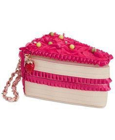 Imagine all the sweet compliments you'll receive when you're wearing this adorable cake wristlet on you arm! From Betsey Johnson. Unique Handbags, Unique Purses, Pink Handbags, Unique Bags, Cute Purses, Purses And Handbags, Mochila Adidas, Betsey Johnson Handbags, Sacs Design