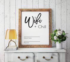 Wifi Password Sign / Wifi Chill / Wifi Printable / Guest