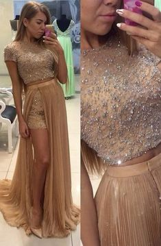 Shop affordable Stunning Two Pieces Prom Dresses 2018 Beadings Short Sleeve Split Party Gowns at June Bridals! Over 8000 Chic wedding, bridesmaid, prom dresses & more are on hot sale. Prom Dresses 2016, Dresses Short, A Line Prom Dresses, Quinceanera Dresses, Quinceanera Ideas, Bride Dresses, Maxi Dresses, Wedding Dresses, Chiffon Evening Dresses