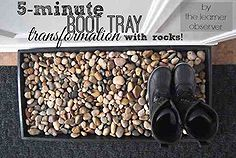 5 minute boot tray fox with river rocks, crafts, repurposing upcycling