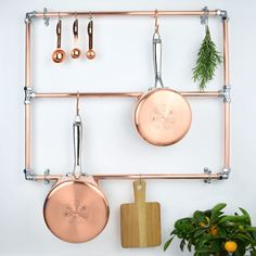 Copper Pot And Pan Rack, with Chrome