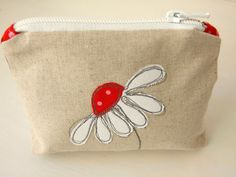 Lined linen zip pouch with applique daisy by teenywhitedaisy, €12.00