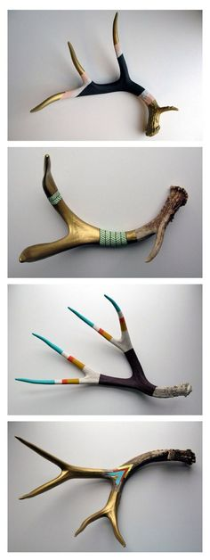 Modern / Rustic Wall Art | Painted Antlers  Love the bright colors