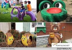 25 ways to recycle old tires Kids Outdoor Play, Outdoor Play Areas, Kids Play Area, Outdoor Fun, Tire Playground, Natural Playground, Playground Games, Tired Animals, Tire Craft