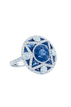 Art Deco-inspired ring by Tiffany, made of sapphires, diamonds and platinum. Price upon request.   - ELLE.com