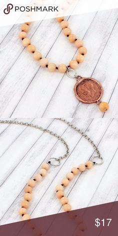"Coral Jade Beaded Coin Necklace Make a statement with this beaded coin pendant necklace!  32"" Long Lobster Claw Closure Coral Jade Colored Beads on Knotted Cord Worn Silvertone Chain and Coppertone Coin 2.75"" Long Pendan Jewelry Necklaces"