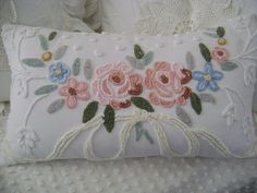 Vintage Chenille Feather Pillow  Cabin Crafts Chenille by TWFaith, $64.00