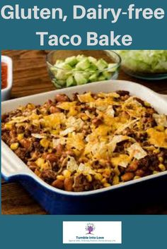 Quick and easy gluten and dairy free taco bake. Quick and easy gluten and dairy free taco bake. Dairy Free Recipes Easy, Gluten Free Recipes For Dinner, Allergy Free Recipes, Gluten Free Cooking, Lactose Free Dinners, Dairy Free Meals, Lactose Free Hamburger Recipes, Gluten Dairy Free, Dairy Free Lasagna