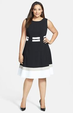 Main Image - Calvin Klein Belted Fit and Flare Dress (Plus Size) Vestidos Plus Size, Plus Size Dresses, Plus Size Outfits, Stylish Dresses, Casual Dresses, Short Dresses, Curvy Girl Fashion, Plus Size Fashion, Mode Plus