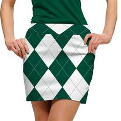 Loudmouth Golf Skort Green & White Argyle | Golf4Her
