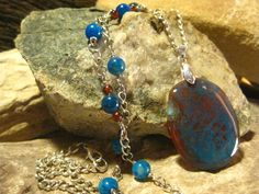 Dragons Vein Agate Pendant Necklace by TheHiddenMeadow on Etsy