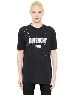 GIVENCHY - LOGO PRINTED DESTROYED JERSEY T-SHIRT - LUISAVIAROMA - LUXURY SHOPPING WORLDWIDE SHIPPING - FLORENCE