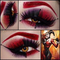 Amazing Harley Quinn eye and brows in bright red, purple and black eyeshadow created by KIϟKI MAKEUP MAKEUP with golden contacts