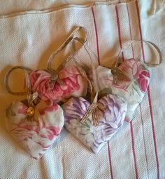 Antique Floral Cotton Lavender Filled Hearts by gillyflowerdesigns on Etsy