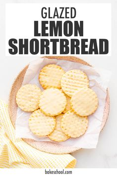This easy recipe for lemon shortbread is finished with a lemon glaze to give them extra flavour. Best Shortbread Cookie Recipe, Lemon Shortbread Cookies, Cookie Recipes, Dessert Recipes, Lemon Cookies Easy, Sweet Cookies, Yummy Cookies, Soft Gingerbread Cookies, Holiday Cookies