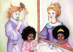 NEW Princesses in the Mirror 8x10 print. $18.00, via Etsy. By Katie Bradley
