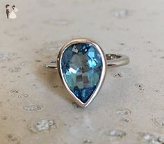 London Blue Topaz Ring- Dark Blue Engagement Ring- Something Blue Promise Ring- December Birthstone Ring- Pear Shape Ring- Simple Blue Ring - Wedding and engagement rings (*Amazon Partner-Link)