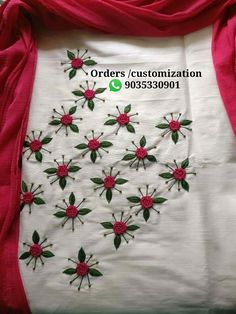 Best 12 Call or WhatsApp 9035330901 for hand embroidery dress materials customization Embroidery On Kurtis, Hand Embroidery Videos, Embroidery On Clothes, Hand Work Embroidery, Embroidery Flowers Pattern, Simple Embroidery, Embroidery Fashion, Modern Embroidery, Machine Embroidery