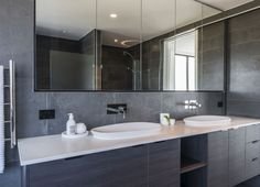 essastone in White Concrete adds a layer of luxury to this bathroom White Concrete, Engineered Stone, Renovations, Modern Bathroom, Wall Mounted Taps, Bathroom Mirror, Modern, Home Renovation, Bathroom