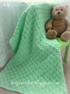 Lacy Crochet: Crochet Green Baby Blanket, free pattern, other patterns, too