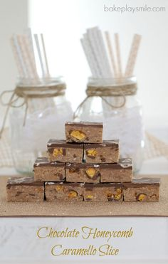Chocolate Honeycomb Caramello Slice (No Bake)