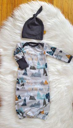 Adventure Awaits Newborn Gown, Matching Knot Hat, Baby Boy, 0-3 mos by brambleandbough on Etsy