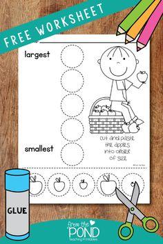 Apple Activities Kindergarten, Pre K Activities, Fall Preschool, Preschool Printables, Preschool Worksheets, Preschool Learning, Preschool Activities, Kindergarten Apples, Preschool Education