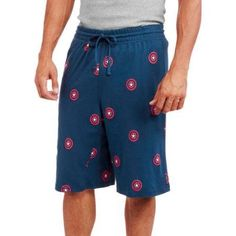 Captain America Men's Sleep Shorts, Size: Medium, Blue