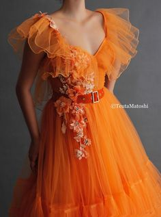 Details - Orange dress color - Tulle dress fabric - Handmade embroidered flowers with crystals and leaves - TMD velvet belt detail - A-line dress shape with butterfly shoulders, V-neck and waist definiton - For special occasions Orange Prom Dresses, Gala Dresses, Ball Gown Dresses, Orange Dress, Tulle Dress, Dress Outfits, Fashion Dresses, Diy Fashion, Dress Black