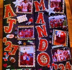 Football locker decoration. #playFor27 Football Signs, Football Cheer, Basketball Mom, Volleyball, Cheerleading, Homecoming Poster Ideas, Football Locker Decorations, Cheer Posters, Football Homecoming