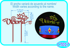 Cake topper Tiara. Puedes personalizar el nombre /You can customize the name.- Pedidos/ Inquiries to: crearcjs@gmail.com