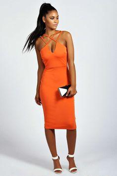 ab4889e9e6ec4 Jen Square Neck Bodycon Midi Dress | Boohoo Orange Bodycon Dress, Gown Skirt,  Dresses