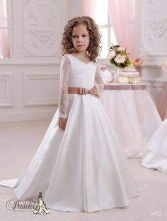 Baptism Dresses For Toddlers 2016 Kids Wedding Dresses With Long Sleeves V Neck Sequins Lace Satin Ballgown Flower Girls Dresses For Weddings With Bow Sash & Sweep Train Beautiful Dresses For Girls From Nicedressonline, $91.68| Dhgate.Com