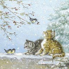 gatakia se xristoygenniatiko topio Cat Design, Design Art, All About Cats, Cat Lovers, Painting, Animals, Animales, Animaux, Painting Art