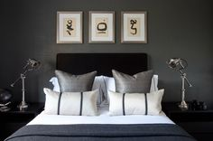 th2 Designs.© Bedroom, bold, cushions, chrome lamps, artwork