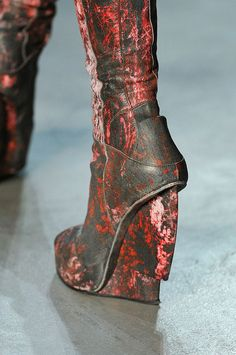 post-apocalyptic distressed knife heel wedges - helmut lang FW'12