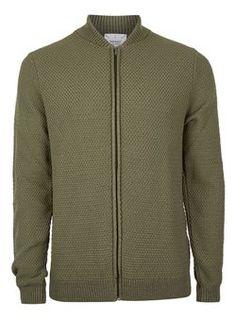 Khaki Knitted Bomber Jacket