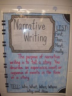 Click on the chart to enlarge it. It gives you a very good description of what narrative writing is. Remember you are writing a PERSONAL narrative, so it is about YOU.