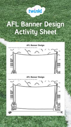 Use this sheet as a writing and drawing activity. It is great for the football season and the AFL Grand Final. Birthday Invitations, Invites, Australian Football League, Drawing Activities, Spring Vacation, Activity Sheets, Child Care, Football Season, Banner Design